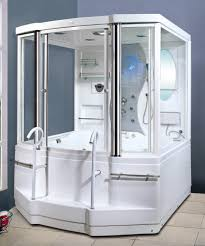 bathroom walk in shower kit in white with low threshold grab bars acrylx acrylic bathroom shower stalls 1 piece