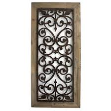 brown metal wood and iron scroll work wall plaque china on wooden frames rectangular modern wall on metal wall art picture frames with wall art best ideas wood and iron wall art wood and metal wall