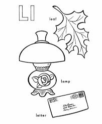 ABC Alphabet Coloring Sheets - L is for Lamp / Leaf | HonkingDonkey
