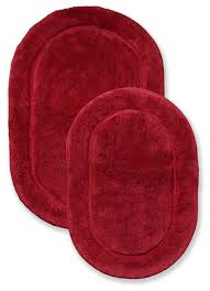superior collection luxurious cotton oval bath rug set of two burdy