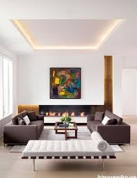 living room modern minimalist design with recessed ceiling light