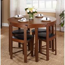 round dining table set for 4 with chairs walnut wood kitchen dinette save space