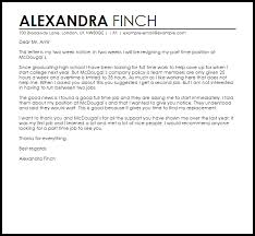Sample Of Resignation Letter From Jobs Part Time Job Resignation Letter Example Letter Samples