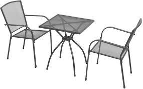 2 chairs steel mesh garden patio