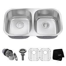 kraus undermount kitchen sink double bowl durable 32 sink strainer dish grid