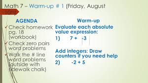 math warm up friday th agenda check homework 1 math