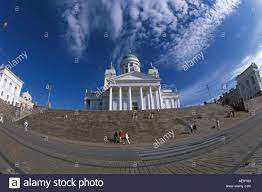 Helsinki evangelical Lutheran Cathedral sunny day, dramatic low Stock Photo  - Alamy