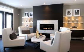 modern fireplace design ideas dark wall white chairs