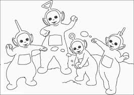 Tinky Winky Dipsy Laa Laa En Po Spelen Met Sneeuwballen Kleurplaat