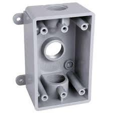 1 gang non metallic weatherproof gray box with three 1 2 in