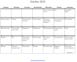 Monthly Meal Planner Printable October Monthly Meal Plan With Easy Recipes Printable