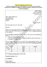 Complain Business Letter Letter Of Complaint Business English Esl Worksheet By