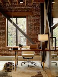 interior design office ideas. Chic Modern Office With A Rough Brick Wall For Contrast Interior Design Ideas R