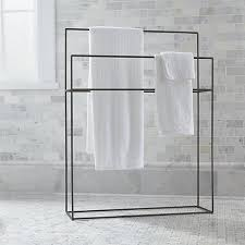 Towel holder Towel Ring Crate And Barrel Jackson Gunmetal Standing Towel Rack Reviews Crate And Barrel