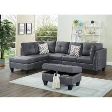 nailhead sectional sofa. Delighful Sectional Linen Fabric Nail Head Sectional Sofa With Storage Ottoman For Nailhead I