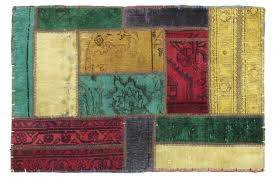 patchwork rug yellow beige red turquoise purple in 90x60 2 3