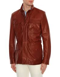 ci brown leather field jacket with drawstring waist 2 1