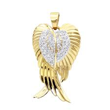 solid 10k gold real diamond angel wings pendant necklace 0 35ct mainye jpg