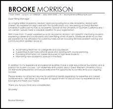 Cover Letter Sample Student Advisor Adriangatton Com