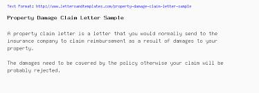 Sample Letter To Insurance Company For Reimbursement Property Damage Claim Letter Sample