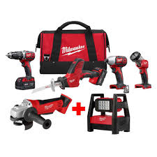 Milwaukee M18 Flood Light Home Depot Milwaukee M18 18 Volt Lithium Ion Cordless Combo Tool Kit 4 Tool With Free M18 4 1 2 In Cut Off Grinder And Rover Flood Light