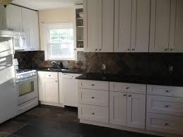 Slate Kitchen Backsplash My Dream Kitchen Is Completed Aspen White Shaker Cabinets Black