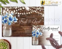 country rustic outdoor wedding invitation rsvp card mason jar barn wood blue flowers string lights diy file style name gracie blue mason jar string lights