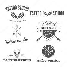 логотип тату салона набор логотип эмблема знак печать наклейки