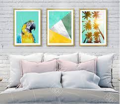 <b>Nordic</b> Green <b>Palm Tree</b> Canvas Art Painting Parrot Birds Animals ...