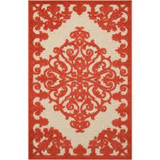 nourison aloha red 3 ft x 4 ft indoor outdoor area rug
