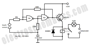 4011 circuits touch light switch schematic