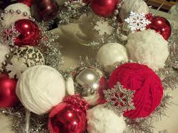 Exciting White Red Christmas Ornament With I Remade The Silver Tinsel  Wreath Lots Of