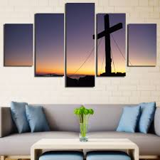 unframed 5 panels christian church cross canvas print home decoration living room bedroom wall pictures art painting in painting calligraphy from home  on large christian canvas wall art with unframed 5 panels christian church cross canvas print home