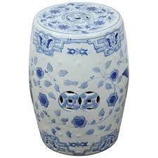 white and blue chinese ceramic garden stool for