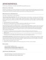 Personal Banker Resume Objective Sample Investment Banking Resume
