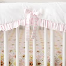 white and pink crib rail cover with ruffle born wild in pink bedding collection