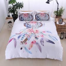 dreamcatcher feathers luxury watercolor bedding set bohemian printed feather bed linens set queen king size duvet cover set luxury duvet covers girl bedding