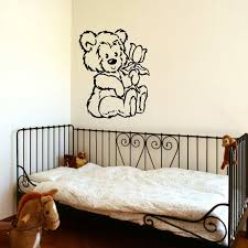 large angel wings wall decor inspirational d309 nursery teddy bear baby wall art stencil sticker transfer