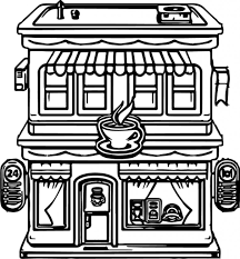 Restaurant Coloring Page Restaurant Coloring Pages Coloring Pages Cartoon Building