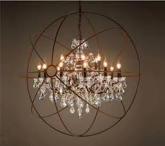 foucault s orb clear k9 crystal chandelier rustic iron globe ceiling lamp new