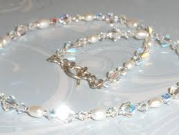Simple Elegant Stunning Swarovski Crystal Ab White Freshwater Pearl Necklace Simple