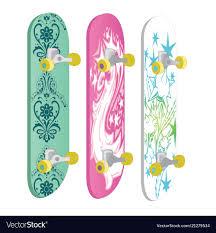 Skateboards Designs Set Of Skateboards With Different Designs