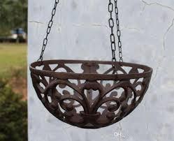 2018 half round cast iron hanging flower basket rack flower pot holder heavy metal outdoor garden plant holder tray hanger garden antique retro from