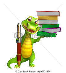 cute aligator cartoon character with pen and book stack csp35571324