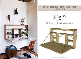 Fold down wall desk Drop Down Free Plans To Build Simple Folddown Wallmount Desk plus 20 More Desk Building Plans Pinterest Diy Desk Series 9 Folddown Wall Desk Diy Furniture And