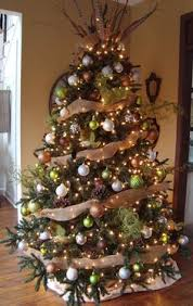 burlap, brown, silver, white ornaments - since Wes and I want a tree   Brown Christmas DecorationsChristmas ...