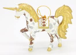 Christbaumschmuck Figur Einhorn Hänger Weiß Gold Hänger 15 Cm