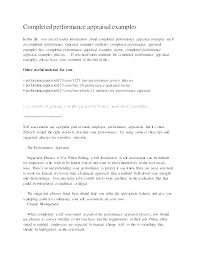 Examples Of Performance Review Free Self Evaluation Examples Performance Template Questions
