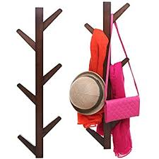 Vertical Coat Rack Wall Mount Interesting Amazon 32Hook Wall Mounted Natural Bamboo Wood Tree Branch