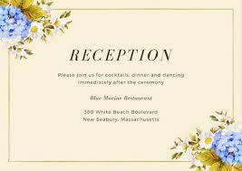 wedding reception card cream and blue hydrangeas wedding reception card templates by canva